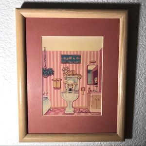 Other - pink wall with wood frame art :)